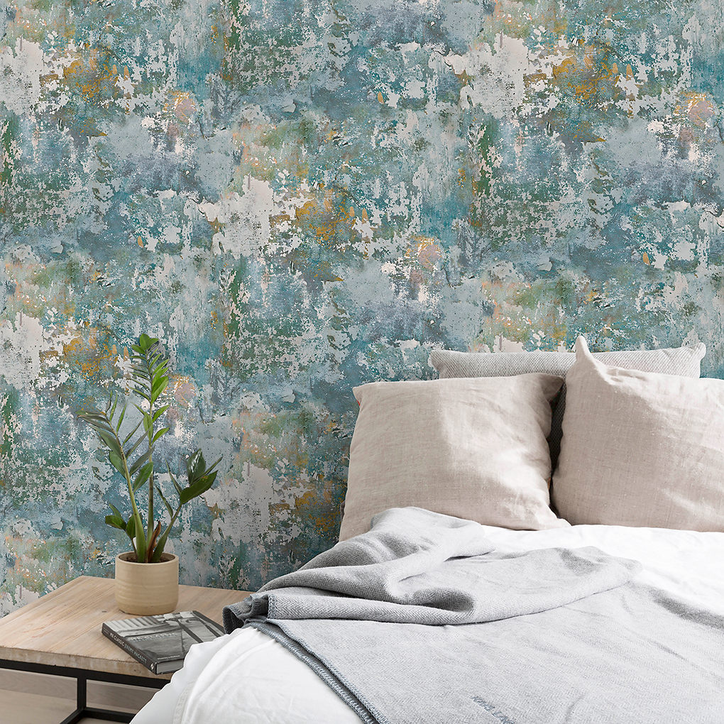 GoodHome Nivosa Teal Coloured concrete Textured Wallpaper