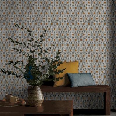 GoodHome Draba Art deco Metallic effect Wallpaper