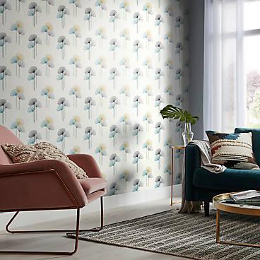 GoodHome Bahiana Teal & yellow Dandelion Wallpaper