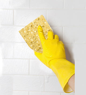 Cleaning products in kitchen