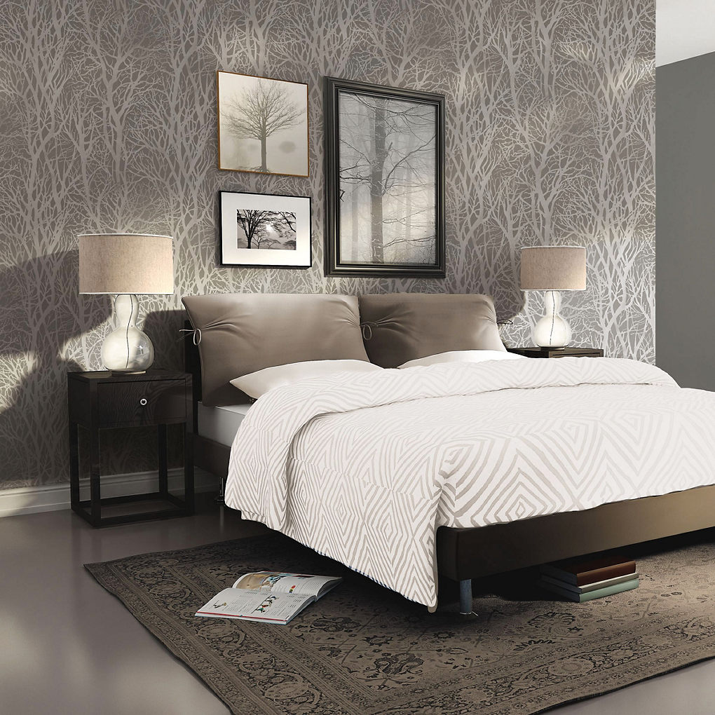 A.S. Creation Life Grey Tree Silver effect Textured Wallpaper