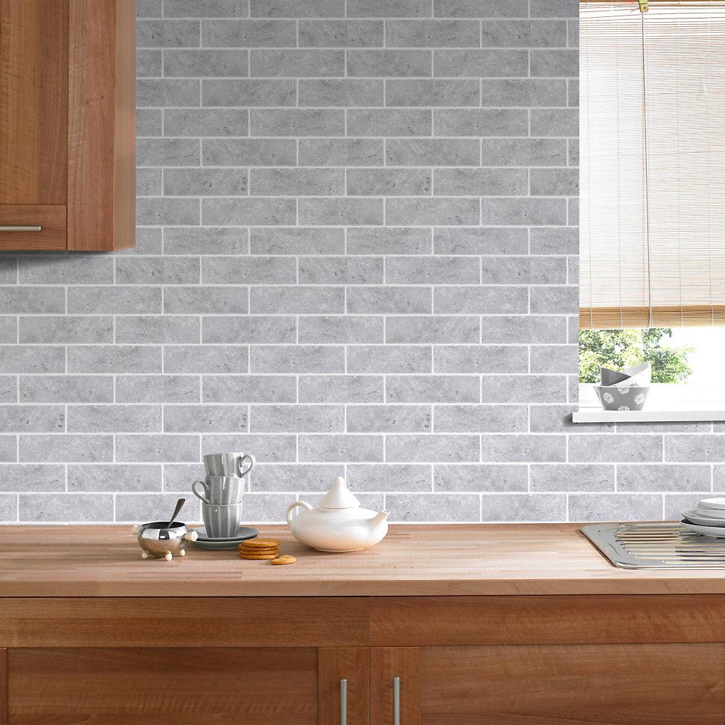 Graham & Brown Contour Grey Brick effect Blown Wallpaper