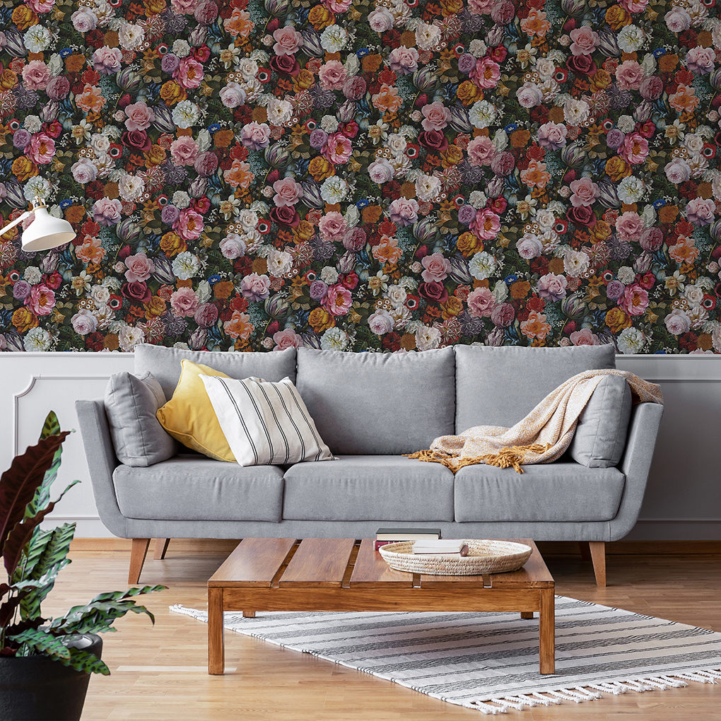 GoodHome Chooky Black & white Tropical Textured Wallpaper