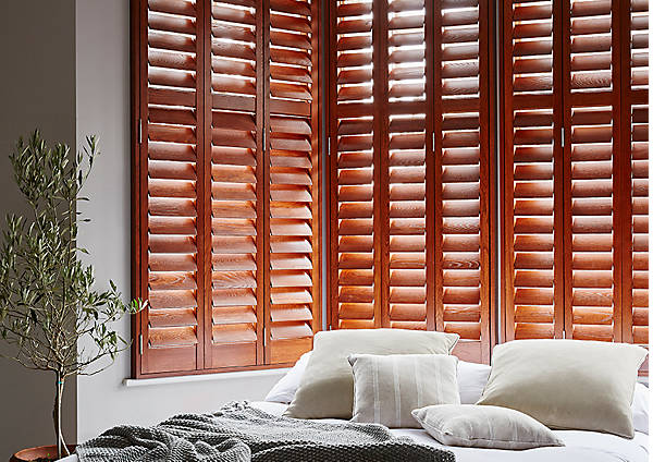 grained wood shutters
