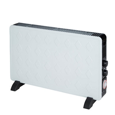 Electric 3000W white turbo convector heater with timer
