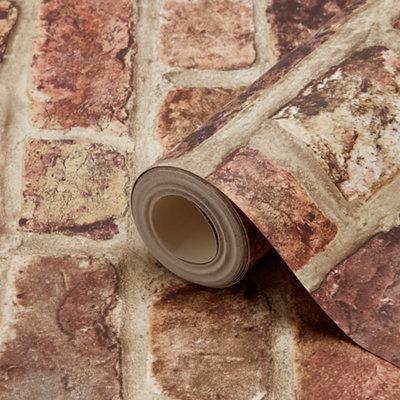 Tanlay dark red brick effect smooth wallpaper