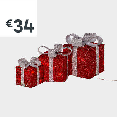 Red LED present trio silhouette, set of 3
