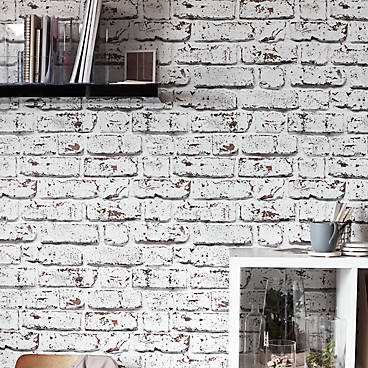 GoodHome Vulpin White Brick Wallpaper