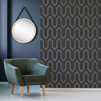 graham brown boutique charcoal geometric metallic effect textured wallpaper ~5011583413861 01i BQ?$PROMO 460 460$