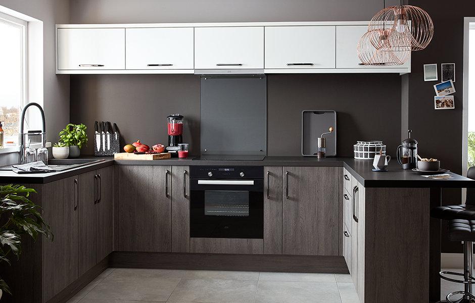 Chia Grey Oak Effect Slab Fitted Kitchens Diy At B Q